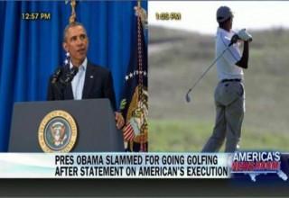 Ο Ομπάμα μετά το διάγγελμα για τον αποκεφαλισμό του Φόλεϊ παίζει περιχαρής γκολφ με φίλους