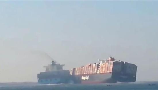 Καρέ-καρέ η σύγκρουση δύο τεράστιων φορτηγών πλοίων στη Διώρυγα του Σουέζ (βίντεο)