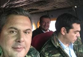 Η selfie του Καμμένου με Τσίπρα και Παππά μέσα στο ελικόπτερο