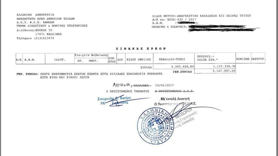 Κατασχετήριο για 5 εκ ευρώ χρέος σε γνωστό συγκρότημα ΜΜΕ